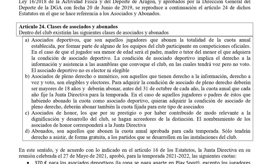 Aviso Asociados y Abonados del Club Unión Deportiva Amistad 2021 – 2022